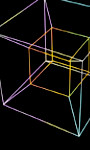 rainbow line drawing of a hypercube